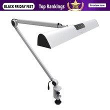 Настольная лампа A509, светодиодный светильник с поворотным кронштейном и сенсорным зажимом для чтения, серебристый, 2 режима работы, 4 уровневый Диммируемый Светильник