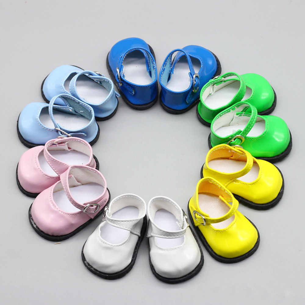 Doll Accessories Pink White Blue Leather Shoes with Round Head and Buckle for 18 inch American Dolls Toy Shoes for 43cm Dolls