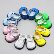 Doll Accessories Pink White Blue Leather Shoes with Round Head and Buckle for 18 inch American Dolls Toy 43cm