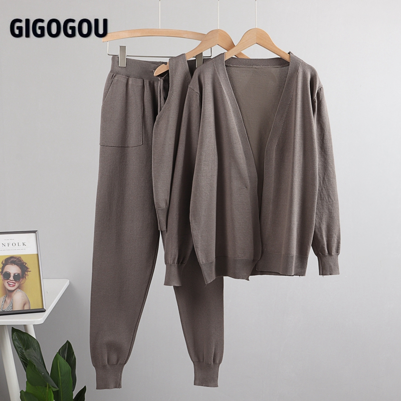 GIGOGOU Women Tracksuits Chic 3 Piece Set Costume Knitted Solid Lounge Suit Cardigan Sweater + Jogger Pants+ Sleeveless Tank Top 11