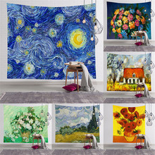 Geometry Famous Print Tapestries Wall Hanging Sunflower tapestry Decorative Blanket Fabric Bedroom Large moonnight meteor fabric decorative wall tapestry