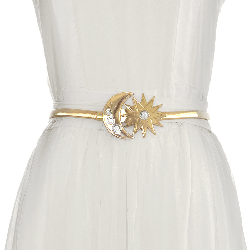 2019 New Designer Gold Elastic Stretch Waist Chain Belt Female Thin Skinny Rhinestone Sun Moon Buckle Belts For Women Dresses