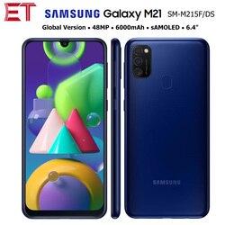 Глобальная версия Samsung Galaxy M21 M215F/DS мобильный телефон 4 Гб 64 Гб OctaCore 6,4 дюйм1080x2340 6000 мА/ч, 48MP NFC Android10 смарт-чехол для телефона