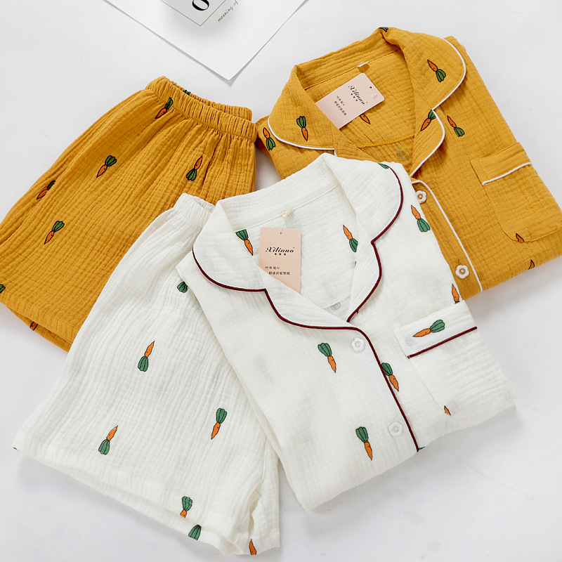 2019 Summer New Style Women's Pure Cotton Zou Cloth White Yellow Radish Pajamas Short Sleeved Shorts Suit Comfortable Home Wear