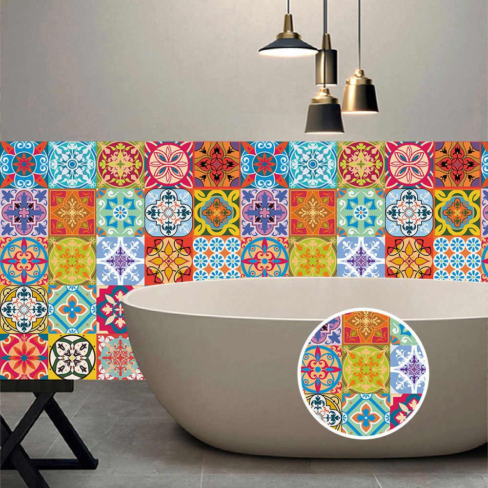 10/15/20/30Cm Colorful Retro Strip Ubin Stiker Dinding Dapur Tangga Pintu Dekorasi Wallpaper peel & Stick Seni Mural