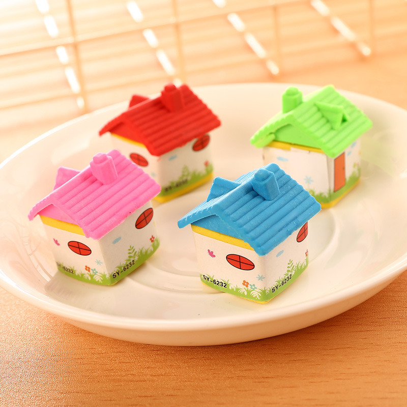20 Pcs Student Supplies Small House Styling Eraser New Children's Products Creative Wholesale  Prizes For Kids