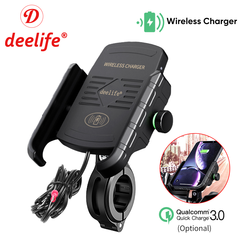 Deelife Mobile Phone Holder Motorcycle Smartphone Support for Moto Motor Motorbike Handlebar Mount Stand with Wireless Charger