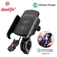 Deelife-Soporte de teléfono para motocicleta, soporte de móvil para manillar de Moto, Scooter, con cargador inalámbrico USB