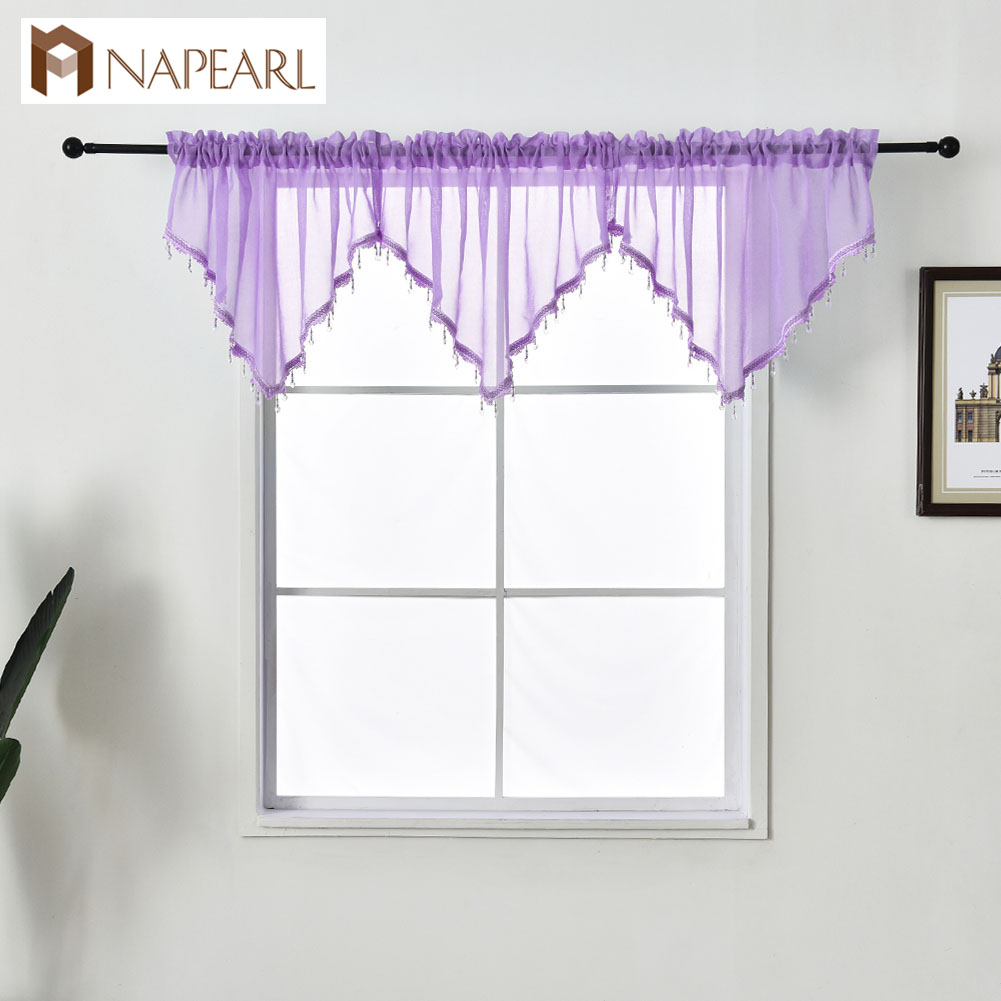 NAPEARL 1 Piece Tulle Curtain Valance New Design Home Decor Solid Color Beads Voile For Kitchen Bedroom Windows Modern Short
