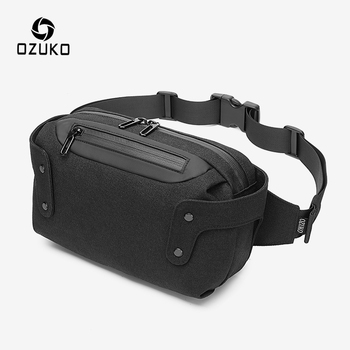 OZUKO Waist Pack Men Multifunction Waterproof Chest Bags Male Outdoor Belt Bag USB Charging Waist Bag for Teenager Crossbody Bag