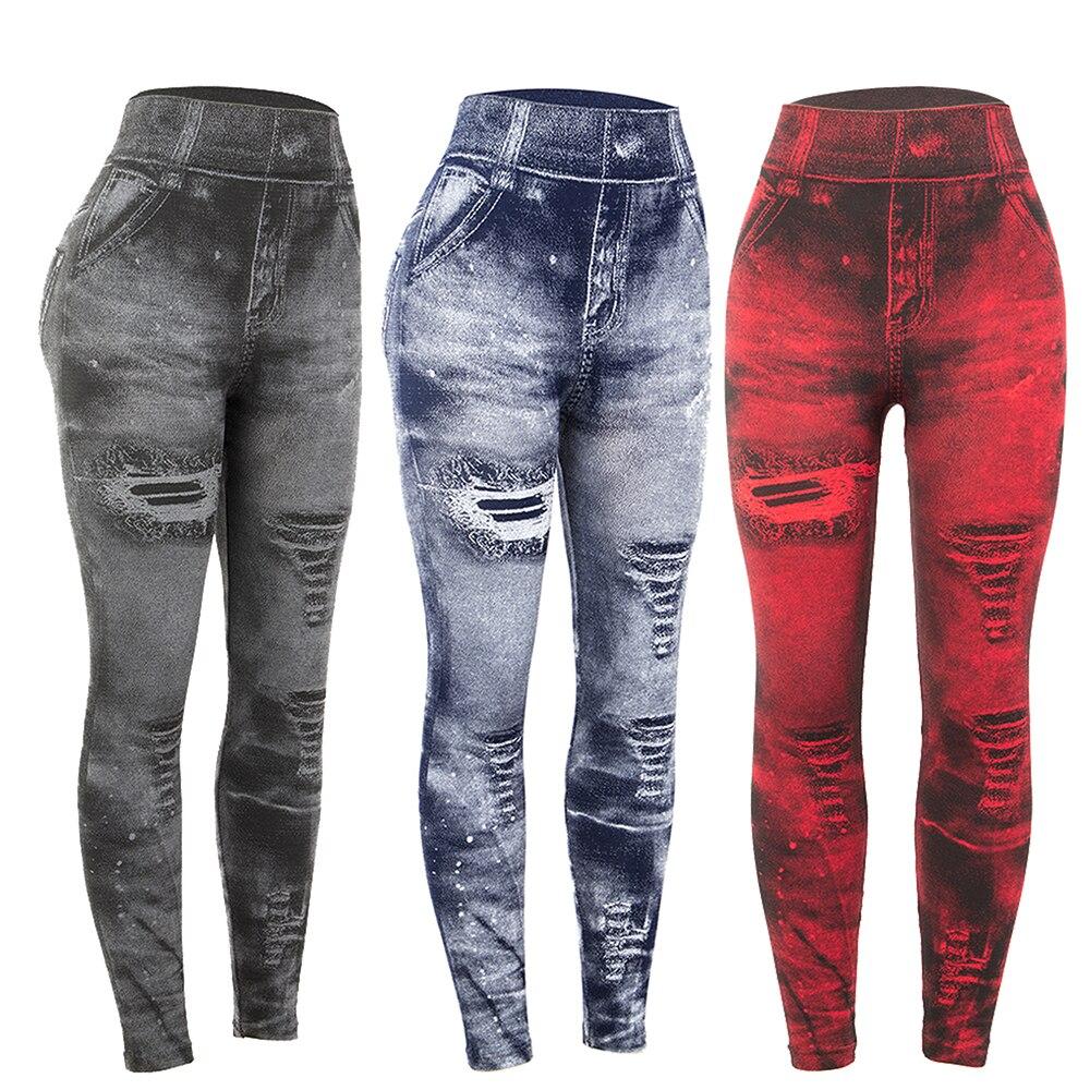 Women Imitation Distressed Denim Jeans Leggings High Waist Slim Elastic Pencil Pants