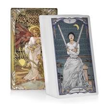Yeni altın Art Nouveau Tarot kartları İngilizce PDF Guidbook güverte parti oyun oynamak kader kehanet kartları toptan