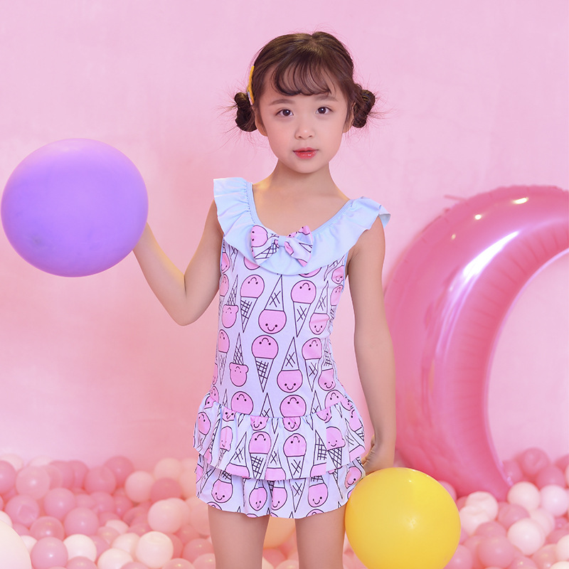 2019 KID'S Swimwear GIRL'S Small CHILDREN'S Cute Little Princess One-piece Baby Swim Bathing Suit Kids Beach Swimwear