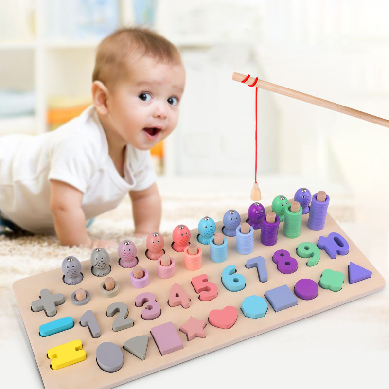 Montessori Educational Wooden Toys Children Busy Board Math Fishing Children\'s Wooden Preschool Montessori Toy Counting Geometry