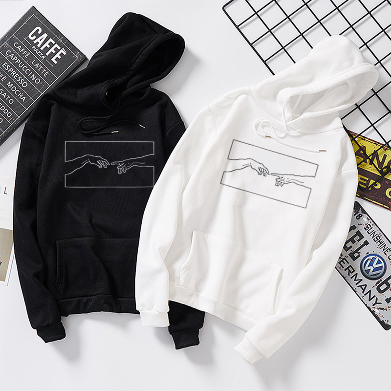 Hands Line Art Sweatshirts Women Hoodies Kawaii Pullover Jumper Outfits Tumblr Gothic Aesthetic Harajuku Tops Casual Tracksuit