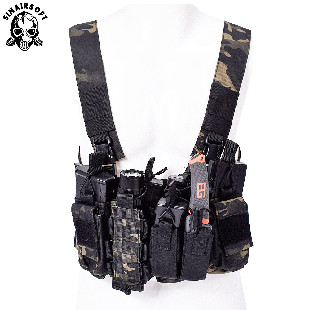 Men Nylon Swat CS Match Wargame TCM Chest Rig Airsoft Tactical Vest Military Gear Pack Magazine Pouch Holster Molle System Waist