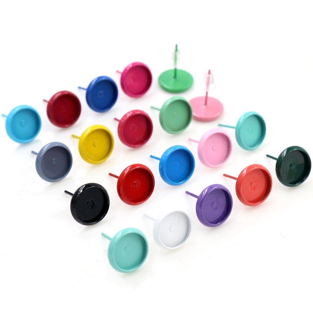 (Новые цвета) 8 мм 10 мм 12 мм 20 шт./лот 21 цвет позолоченные серьги шпильки, серьги пустые/основание, подходят 8 мм Стеклянные Кабошоны, серьги Нас...