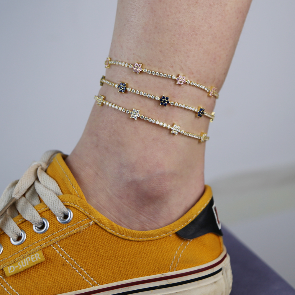 3 Color Flowe High Quality Womenr Leaves Pendant Anklet Ankle Chain Foot Bracelet Beach Foot Jewelry
