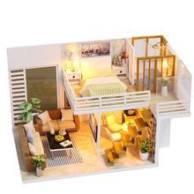 Кукольный домик «сделай сам», игрушечный деревянный миниатюрный кукольный домик, миниатюрные игрушки для кукольного домика с мебелью, пыле...