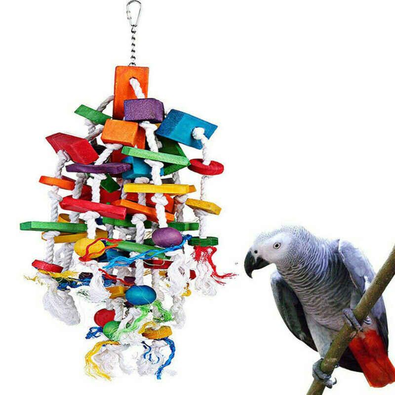1 pc 鳥咀嚼のおもちゃ大中オウムケージおもちゃをかむアフリカグレーコンゴウインコ cockatoos eclectus 滝
