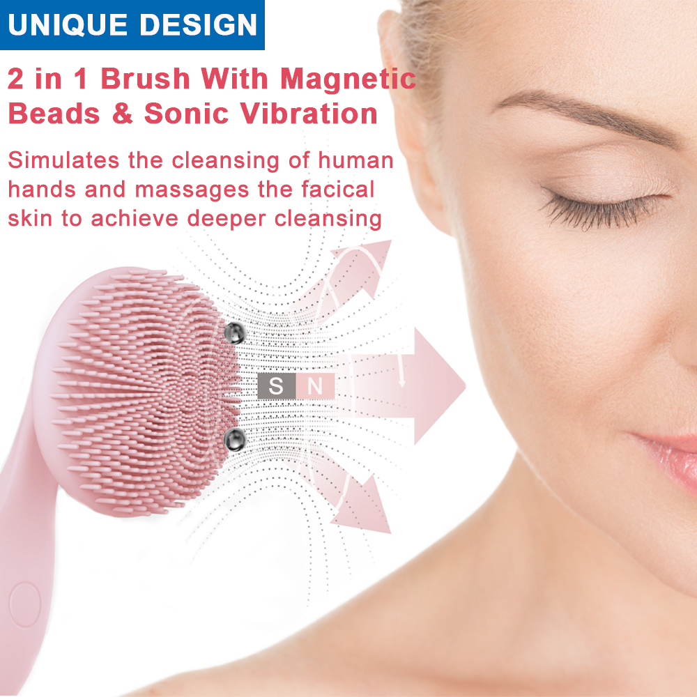 Image 3 - ANIMORE Silicone Face Cleansing Brush Rotating Magnetic Deep Cleaning Face Remove Make up Residue Rechargeable Facial Brush Face-in Powered Facial Cleansing Devices from Home Appliances