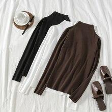 Mooirue 2019 Autumn Turtleneck Kintting Sweater Women Vintage Slim Streetwear Korean Style Shirts Long Sleeve Solid Harajuku Top