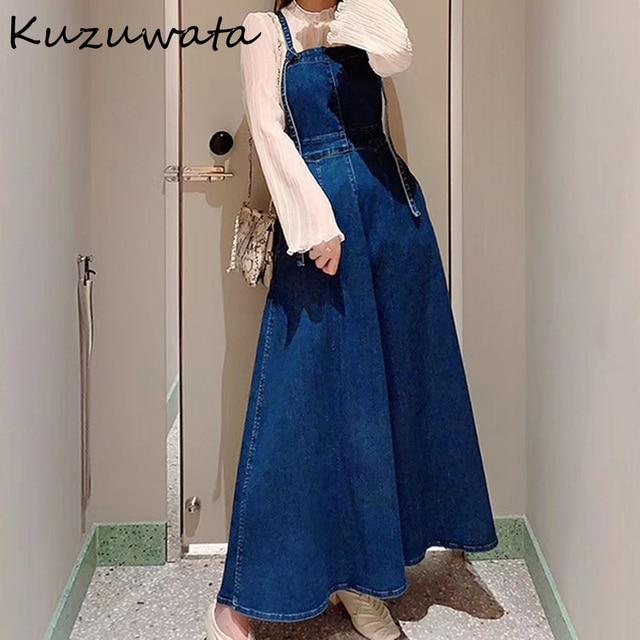 Kuzuwata High Waist Hip A Line Camis Dress Women Sexy Sleeveless Shoulder Strapless Denim Vestidos Summer 2021 New Slim Robe 1