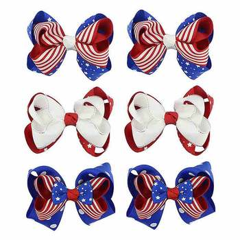 Children's Colorful And Colorful Costumes, Bows, National Flag Cotton Cloth, Comfortable Hairpins