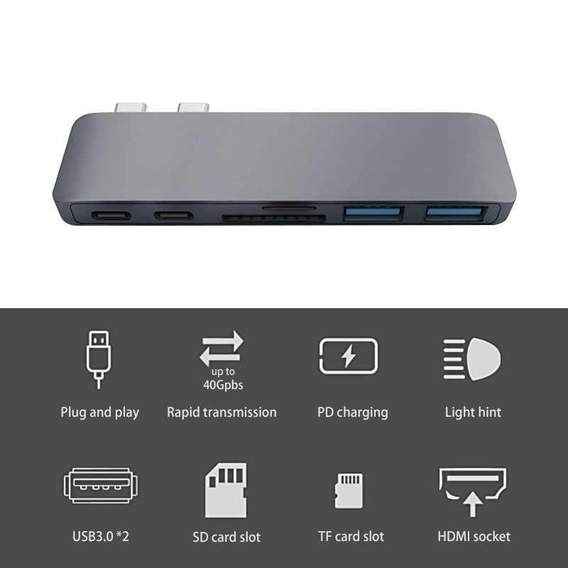 Hub type-c 7-en-1 USB 3.0 adaptateur Dock avec 4K HDMI USB 3.0 Micro SD/TF carte Hub pour nouveau Macbook Chromebook Pixel 2