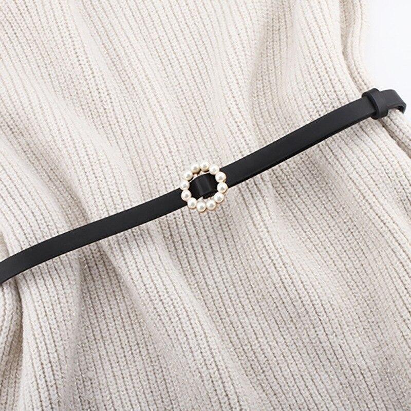 Female Thin PU Leather Belt Single Buckle Side Gold Buckle Belt Wild Fashion Simple Round Pin Buckle Belts