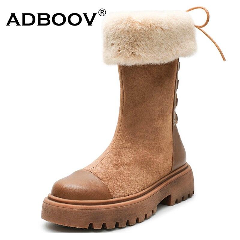 ADBOOV mi-mollet bottes de neige Femmes à lacets bottes d'hiver Femmes Bottines Pour Les Femmes doublure en fourrure chaussures d'hiver plates