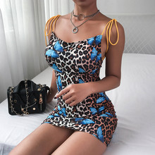Women New Leopard Dress Autumn Sleeveless Backless Print Butterfly Club Party Strapless Short Mini Pencil