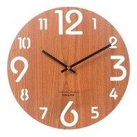 大木製の壁時計リビングルーム木製時計壁ホームデコレーションクリエイティブ 3dキッチン時計壁時計duvar saatiギフトFZ871