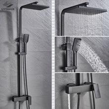 Bad Wasserhahn Chrom/Schwarz Regen Dusche Kopf Bad Wasserhahn Wand Montiert Badewanne Dusche Mischbatterie Dusche Wasserhahn Dusche Set mixer