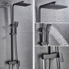 Bathroom Faucet Chrome/Black Rain Shower Head Bath Faucet Wall Mounted Bathtub Shower