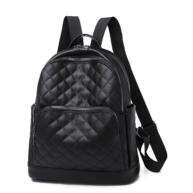 PU Leather Women's Black Backpack Fashion Small Backpacks With Zipper Student Backpack Solid Backpack For Girls