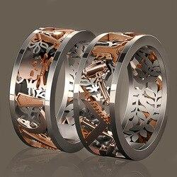 Bague ajourée créative à motif en deux tons, Punk, bague de doigt, bijoux de fête, fiançailles, mariage, vente en gros