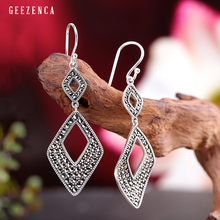 925 Sterling Silver Marcasite Geometric Drop Earrings Trendy Vintage Classical Handmade Dangle Earrings Fine Jewelry Women Gift