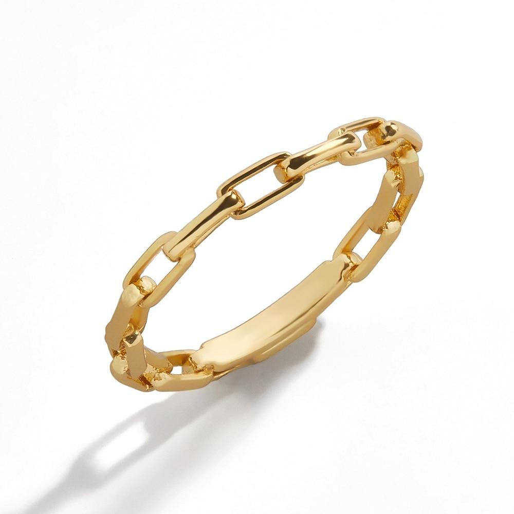 2021 yeni moda Minimalist bağlantı zincir yüzükler kadınlar için Vintage altın renk geometrik zincir bağlantı halkası basit parmak takı