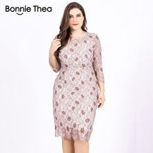 Bonnie thea Womens Autumn Large Size Lace Print Dress Sexy Slim Pencil Big size Party