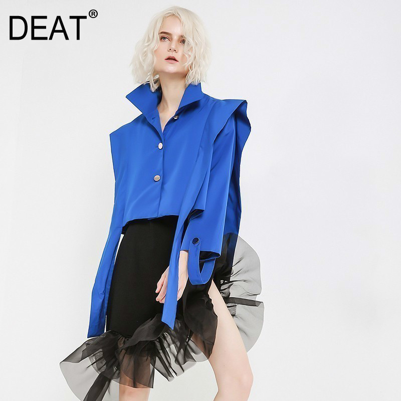DEAT Loose Fit Blue Ribbon Short Big Size Jacket New Lapel Long Sleeve Women Coat Fashion Tide Autumn Winter 2020 JH360