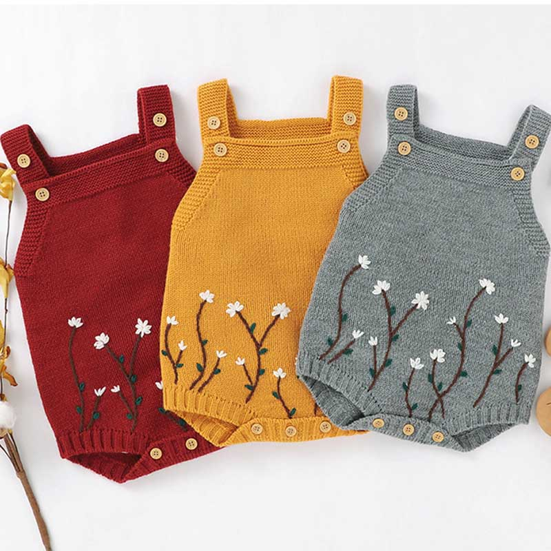 Autumn Baby Bodysuits Knitted Embroidery Sleeveless Jumpsuit Newborn Girl Sweater Toddler Kids Boys Knit Jumpsuit Baby Clothes 1