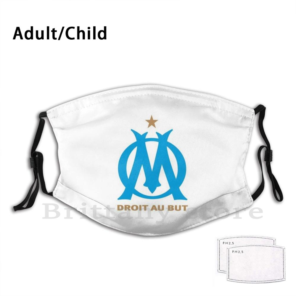 Om Euro Club Adult Kids Pm2.5 Filter Diy Mask Om Marseille Football Euro Leagues Artist Foot Team Sport Mark Work