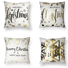 купить Merry Christmas Cushion Cover Christmas Decorations for Home Happy New Year Decor Christmas Ornament Cotton Linen Pillow Cover Pillowcase 45cm x 45cm дешево