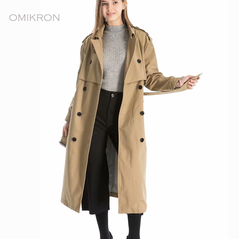 OMIKRON 2019 Autumn New Women's Casual   Trench   Coat Oversize Double Breasted Vintage Washed Outwear Loose Casual Clothing