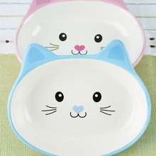 1 Pcs Cat Food Bowl Oblique Mouth Single Drinking Ceramic Pet Dog Cute Ears Supplies Small Dogs