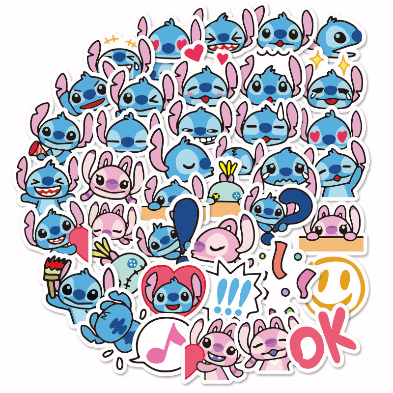 40 Pcs/pack Kawaii Lilo Stitch Star Baby Decorative Stickers Adhesive Stickers DIY Decoration Diary Stationery Stickers