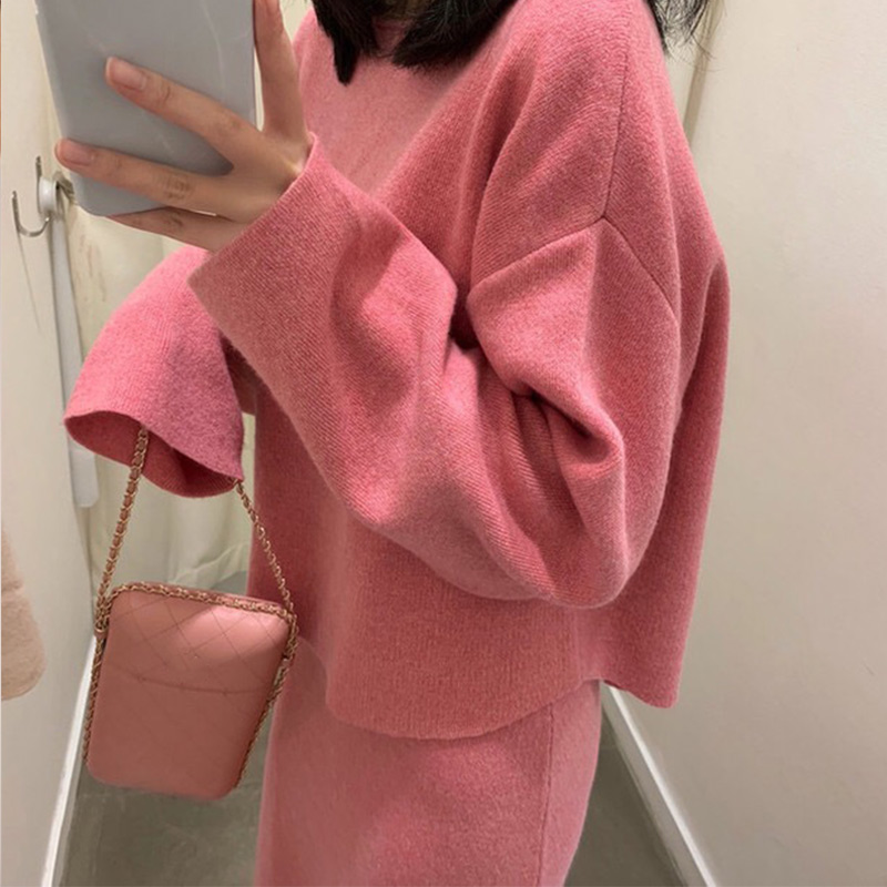 Cashmere Knitted Womens Sweaters Skirts Sets Winter Long Batwing Sleeve Warm Female Pullovers Set 2020 O-Neck Korean Lady Suits