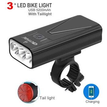 T6 Bicycle Light 5200mAh Power Bank LED Headlight USB Rechargeable Bike Light Waterproof Flashlight Cycling Accessories