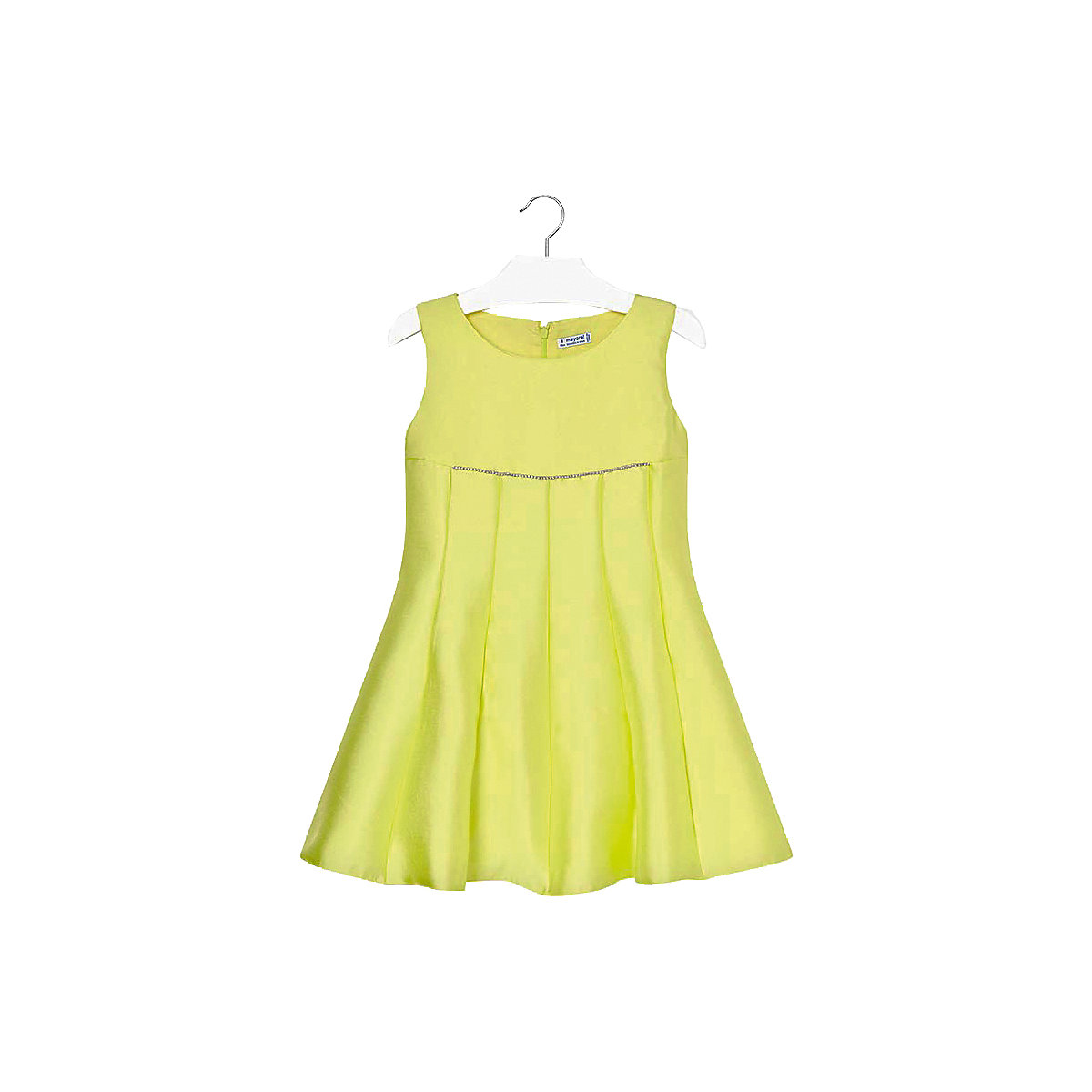 MAYORAL Dresses 10678678 Girl Children Party fitted pleated skirt Yellow Polyester Preppy Style Solid Knee-Length Sleeveless Sleeve